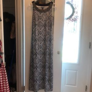 Black and white maxi dress with bead detail